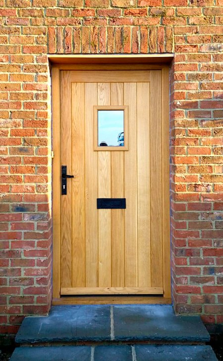 Oak door & frame with vision panel