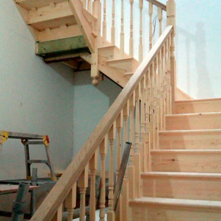 Cut string softwood staircase with oak handrail. Just fitted the day before into a private dwelling