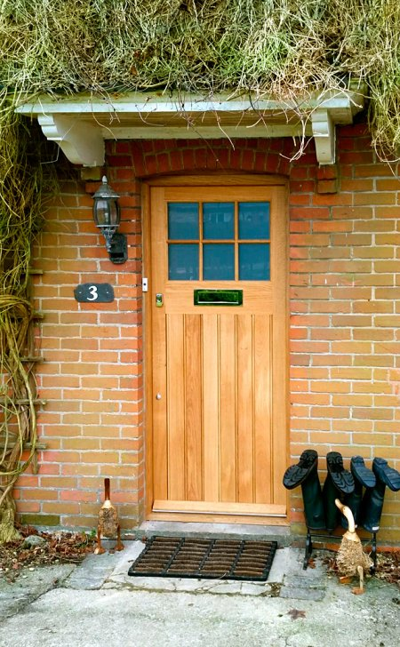Oak door & frame with glazed top section