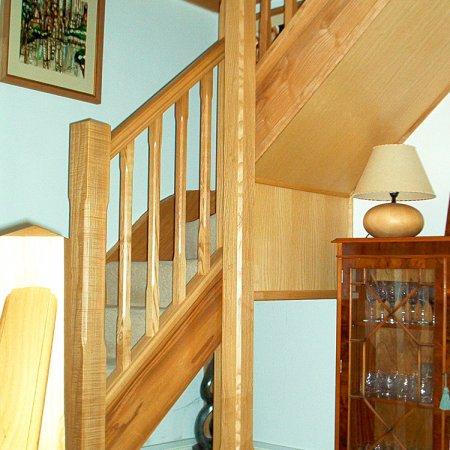 Ash staircase with stop chamfered newel posts & spindles