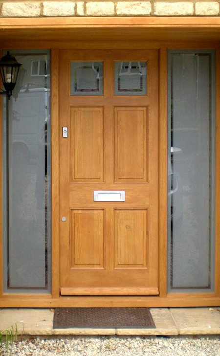 Hardwood door & frame with glazed side light