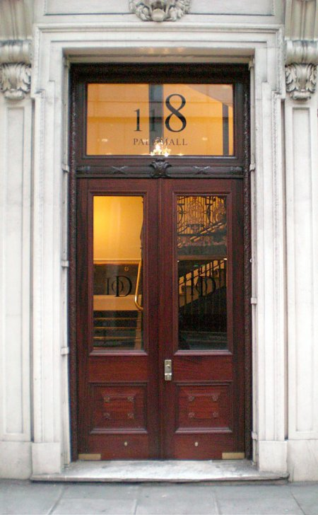 Pair of doors at the IoD in Pall Mall.