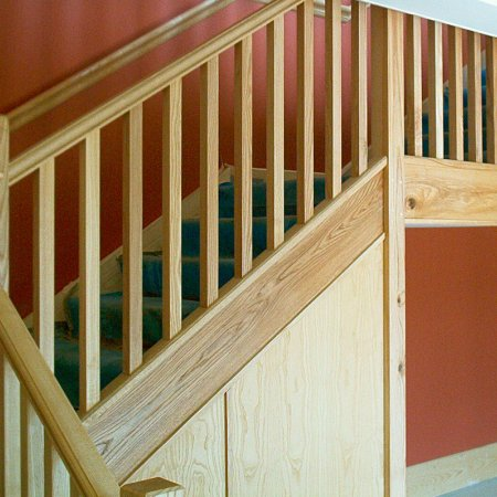 Ash staircase with square newel posts & square spindles