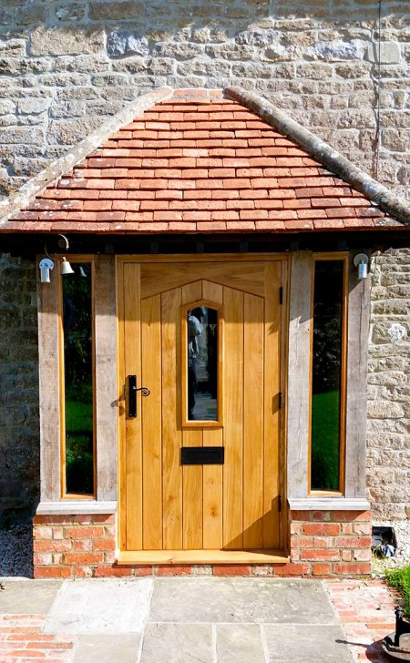 Oak door & frame with larger vision panel